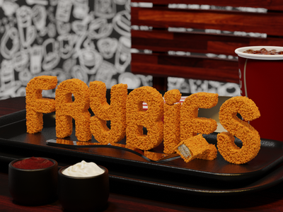 FRYBIES (Nuggets Mock Up) restaurant 3d modeling nugget fast food