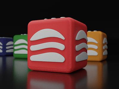 FRYBIES New Logo cube 3d modeling logo