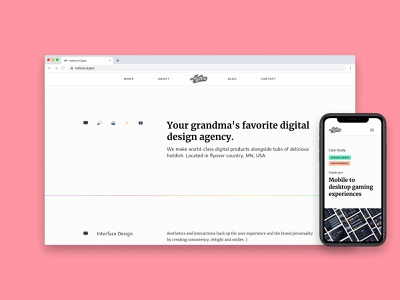 OUR NEW WEBSITE LAUNCH ✨🥳 emoji rainbow desktop mobile clean design white webpage halftone branding refresh new homepage