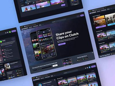 Clutch Desktop UI gamer ui dark ui dark theme community upload screen video upload video gamer dark mode