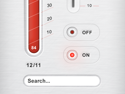 Brushed aluminum UI elements ui interface button user psd