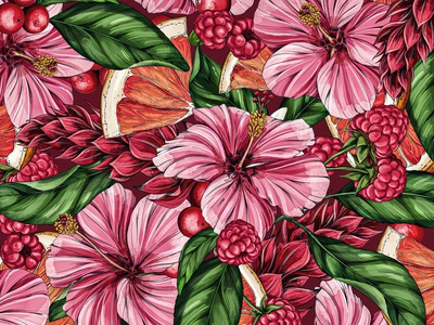 Tropical Hibiscus Berry Pattern nature branding floral botanical illustration drawing surface design illustration packaging pattern tropical botanical flowers flavors