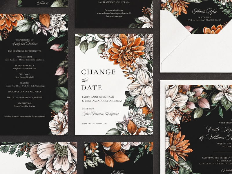 Change the Date flowers nature wedding invitation wedding botanical illustration floral surface design packaging botanical pattern illustration