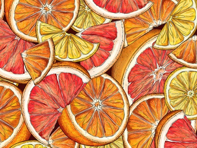 Citrus Pattern orange package design beverage flowers nature branding surface design packaging botanical pattern illustration