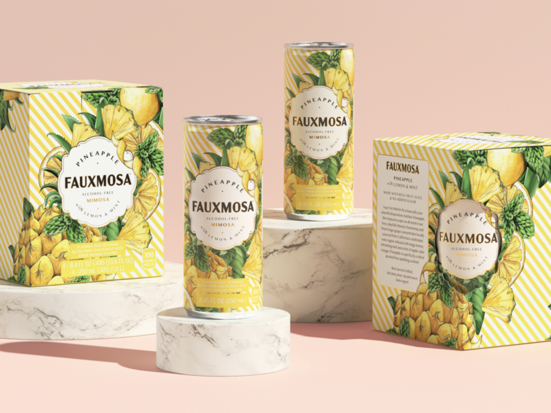 Packaging Illustration: Fauxmosa Pineapple liquor cocktail nature branding drawing surface design packaging botanical pattern illustration