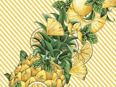 FAUXMOSA Pineapple, detail floral branding botanical illustration drawing surface design packaging botanical pattern illustration