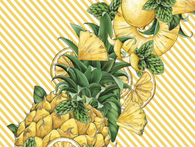 FAUXMOSA Pineapple, detail floral branding botanical illustration drawing surface design packaging botanical pattern illustration