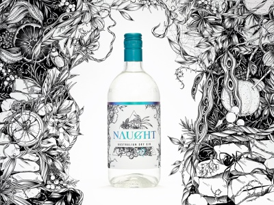 Illustration: Naught Australian Dry Gin ink black and white nature botanical illustration drawing surface design branding alcohol liquor surfacedesign botanical floral illustration packaging design packaging