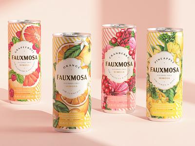 Packaging illustration: 4 flavors design label package beverage drink illustration botanical floral typography surface design packaging