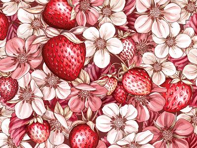 Strawberry Pattern Illustration design branding botanical illustration drawing floral surface design packaging botanical pattern illustration