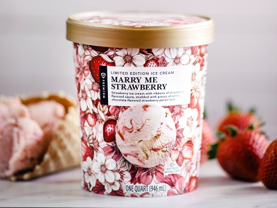 Marry Me Strawberry, Limited-Edition Ice Cream branding botanical illustration drawing typography floral surface design packaging botanical pattern illustration