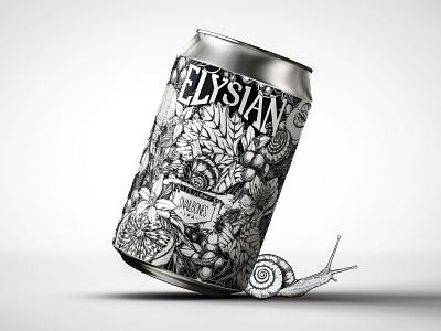 Snailbones IPA, Artist Remix label art label design beer flowers design surface design packaging botanical pattern