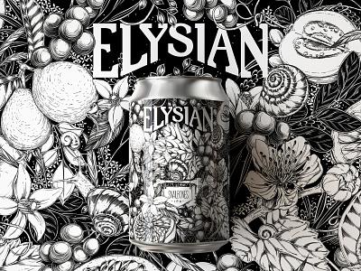 Elysian XXV Snailbones IPA by Maggie Enterrios beverage design illustration pattern botanical surface design floral packaging label art label beer