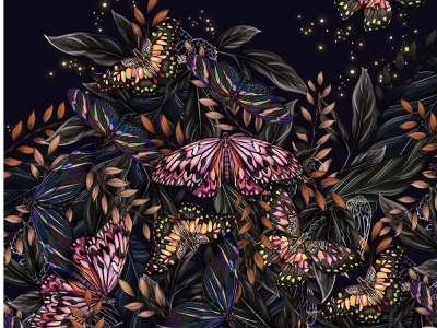 Butterfly Pattern for Glassware nature poster tapestry glass floral surface design packaging botanical pattern illustration