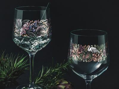 Artist Edition Glassware artist butterfly glass floral surface design packaging botanical pattern illustration