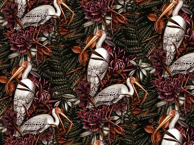 Stork Pattern for Glassware product design glass design illustration pattern botanical packaging surface design