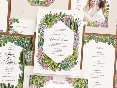 Zola x Maggie Enterrios Customizable Wedding Collection digitalillustration procreate indesign layout succulent nature cactus drawing stationery typography floral surface design packaging botanical pattern illustration wedding