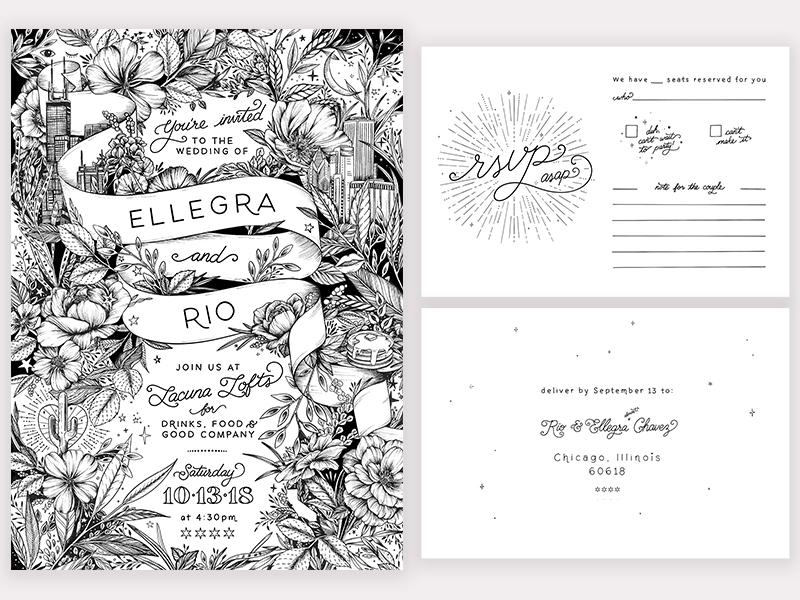 Hand-drawn wedding invitation suite by Maggie Enterrios - Dribbble