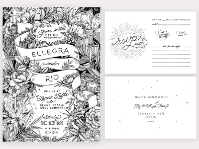 Hand-drawn wedding invitation suite ink typography lettering wedding invitation illustration
