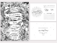 Hand-drawn wedding invitation suite