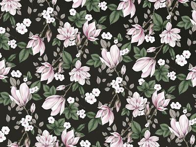 Magnolia Pattern nature branding pattern textile magnolia flowers floral surface pattern surface design illustration illustrator