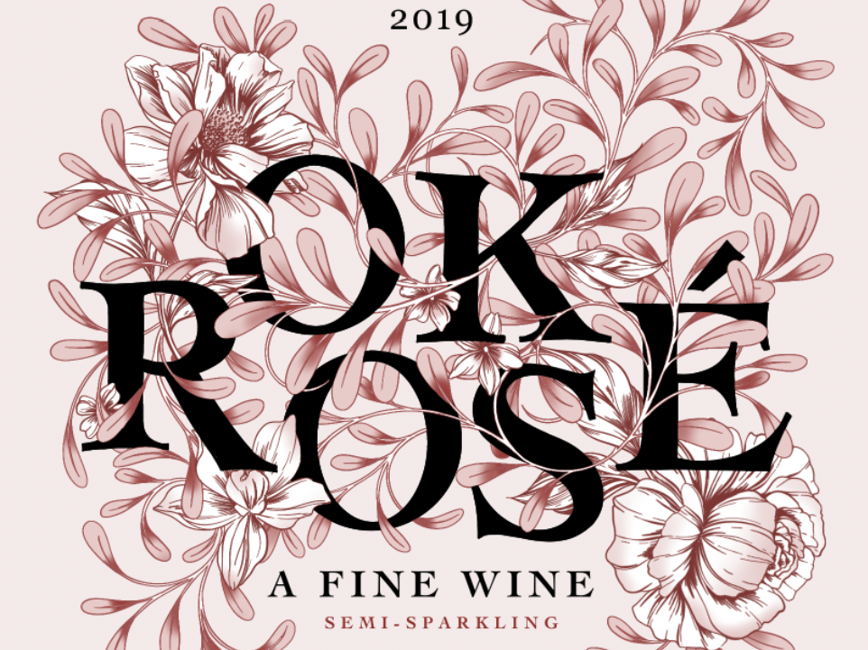OK Rosé: Wine Box Design wine label winery alcohol packagingdesign packagingpro wine flowers botanical illustration black and white branding nature drawing surface design floral lettering packaging typography botanical pattern illustration