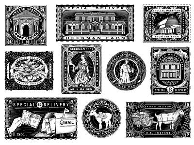 Vintage Inspired Stamps for Beekman 1802 drawing surface design floral lettering packaging typography botanical pattern illustration