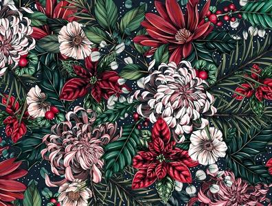 Illustrated Holiday Botanical Pattern