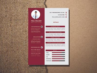 cv deep red design By Muhtasim Omi flat typography vector illustration branding minimal resume design resume cv resume template resume cv resume template cv resume cv design cv template cv