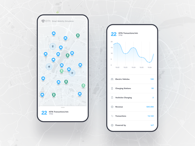 IOTA – Smart Mobility Simulator, Mobile Design financial finance cryptocurrency crypto iot website web ux ui typography sans serif interaction freelance light clean blue chart graph module map