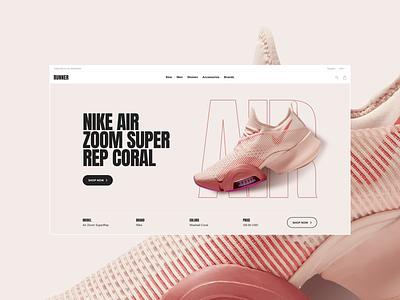 Runner Sport E-Commerce – Hero running run fitness ux ui interaction store shop fashion shoe ecommerce nike air nike web website sans serif freelance sport bold rose