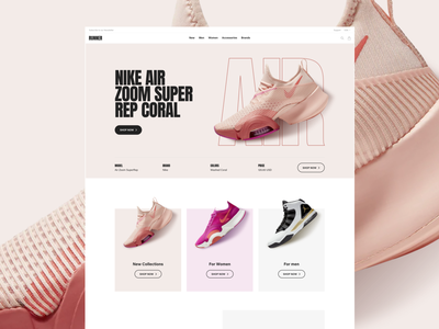 Runner Sport E-Commerce – Top Home running run fitness website web ux ui store sport shop shoe rose nike air nike interaction freelance fashion ecommerce coral