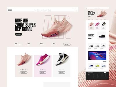 Runner Sport E-Commerce – Full Home running run fitness coral ecommerce fashion freelance interaction nike nike air rose sans serif shoe shop sport store ux ui web website