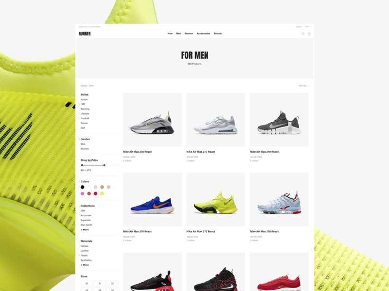 Runner Sport E-Commerce – Category Page running run fitness bold yellow ecommerce fashion freelance interaction nike nike air sans serif shoe shop store sport ux ui web website