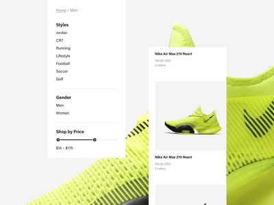 Runner Sport E-Commerce – Category Page running run fitness website web ui ux sport store shop shoe sans serif nike air nike interaction freelance fashion ecommerce yellow bold