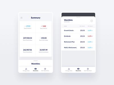 Financial iOS Watchlist App - Watchlists design ux interface typography white blue financial fintech ios ui