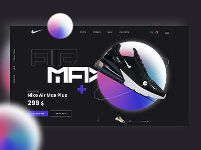 Web Design - Nike Air Max Shopping Page shoe website shoes nike web design ux ui design
