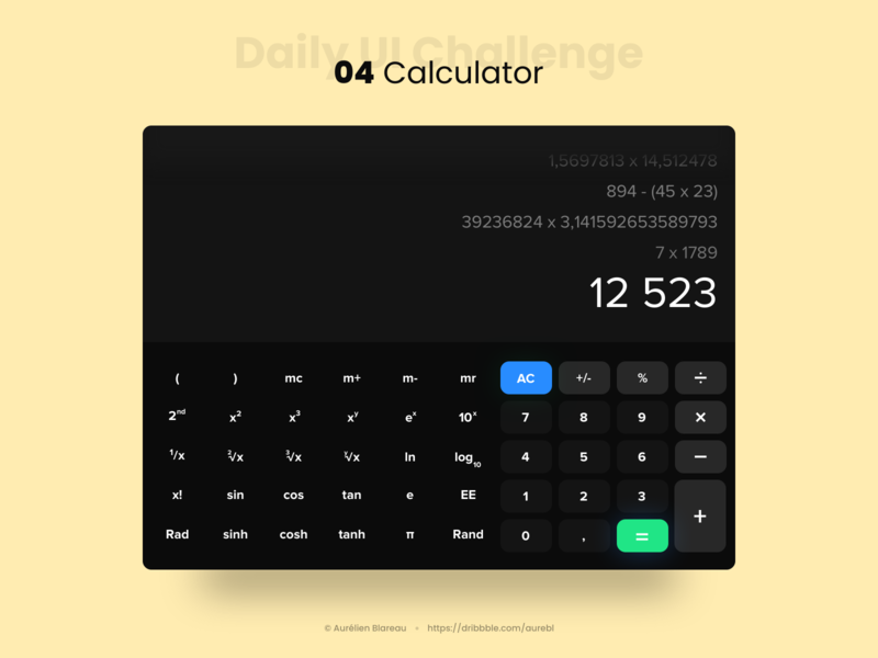 Calculator - Daily UI 004 dailyui004 tablet app ui design design dailyui