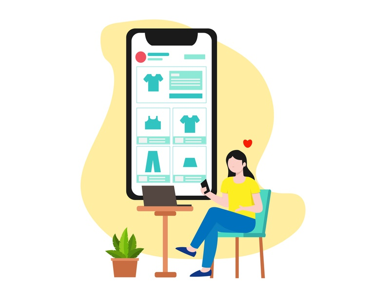 Online Shopping - Flat Illustration online shopping shopping stay home stay at home simple illustration flat background illustration flat illustration flat design design 2d