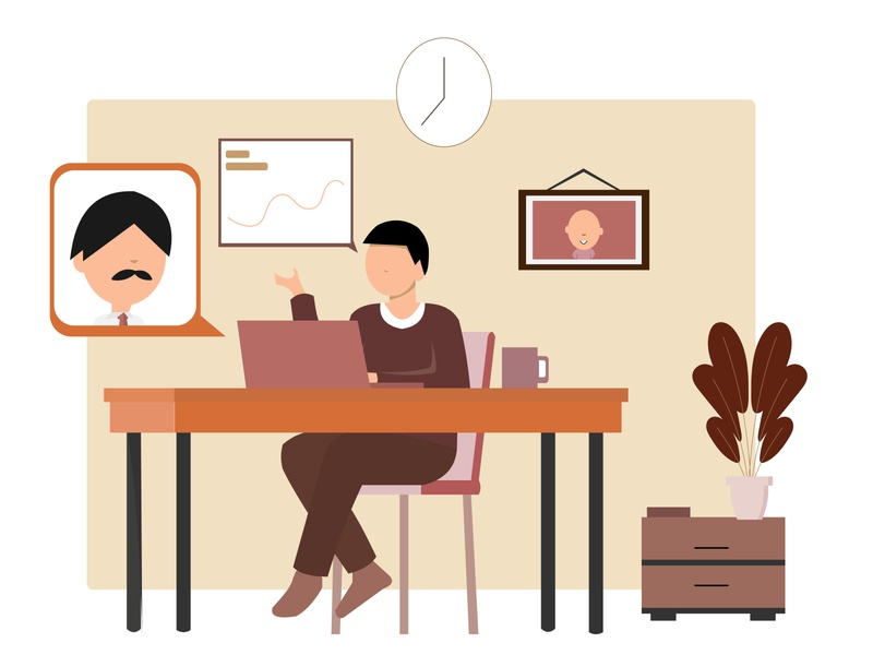 Work From Home - Flat Illustration worker online meeting meeting work from home work stay home stay at home background simple illustration flat illustration flat illustration flat design design 2d