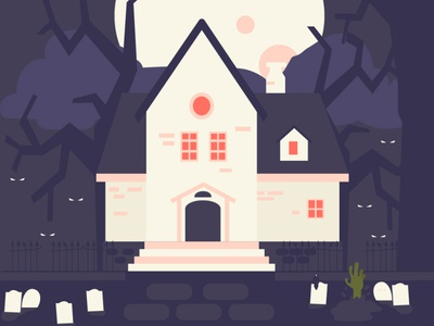 Haunted House - Flat Illustration haunted zombie hand cemetary haunted house halloween simple illustration illustration flat illustration flat design flat design 2d