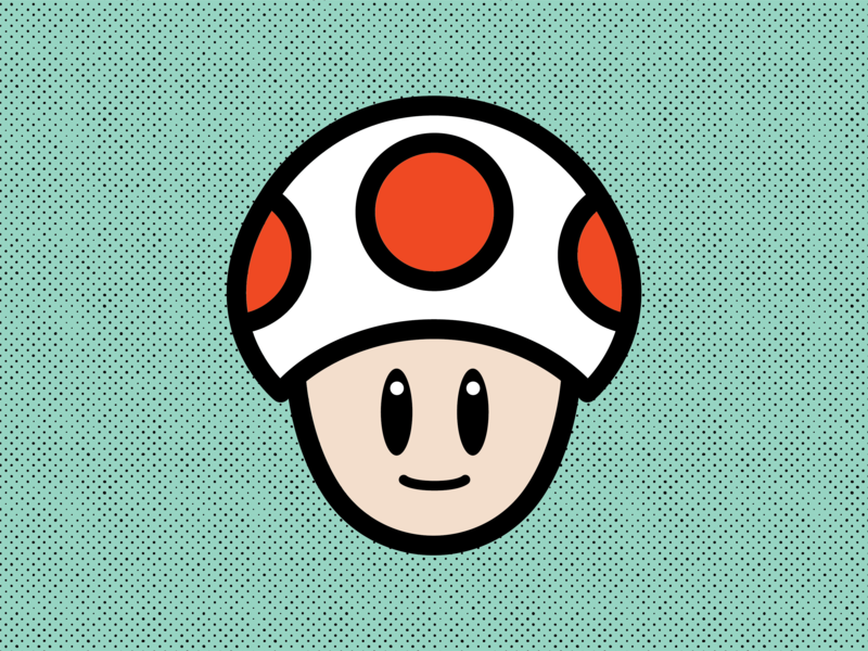 Toad vector nintendo illustrator flat design