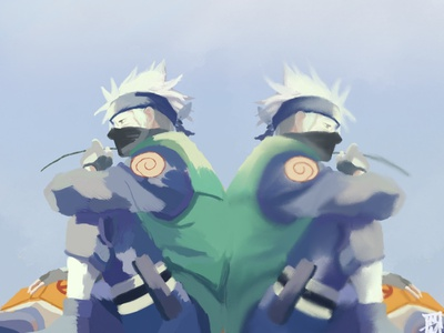 Kakashi kakashi naruto anime digital painting paint procreate illustration