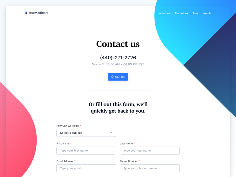 Medical Insurance Contact Page heart pink blue serif pt form contacts significa ux ui desktop