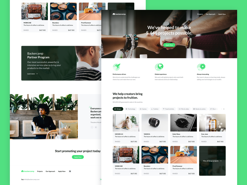 Backercamp - Homepage ux ui significa icons crowdfunding cards landing desktop green
