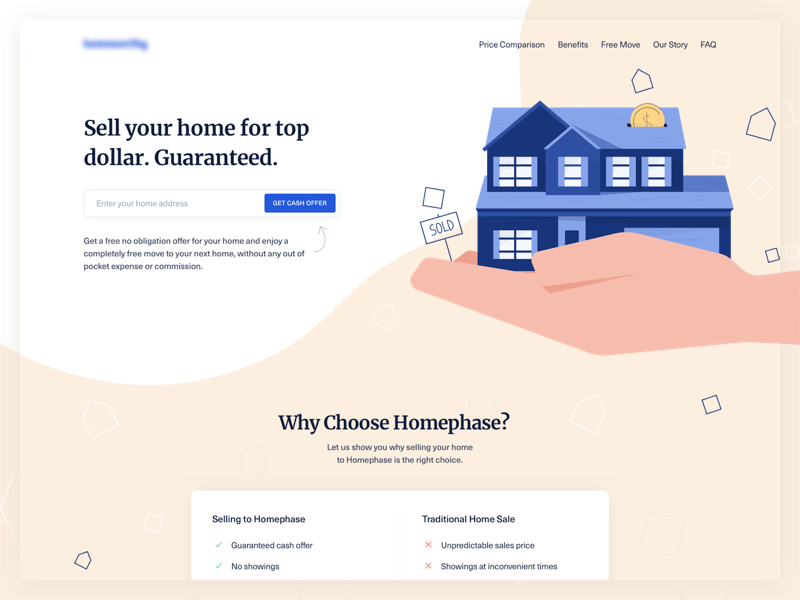 Real Estate Landing Page illustration estate house desktop blue hero form significa landing unica ux ui