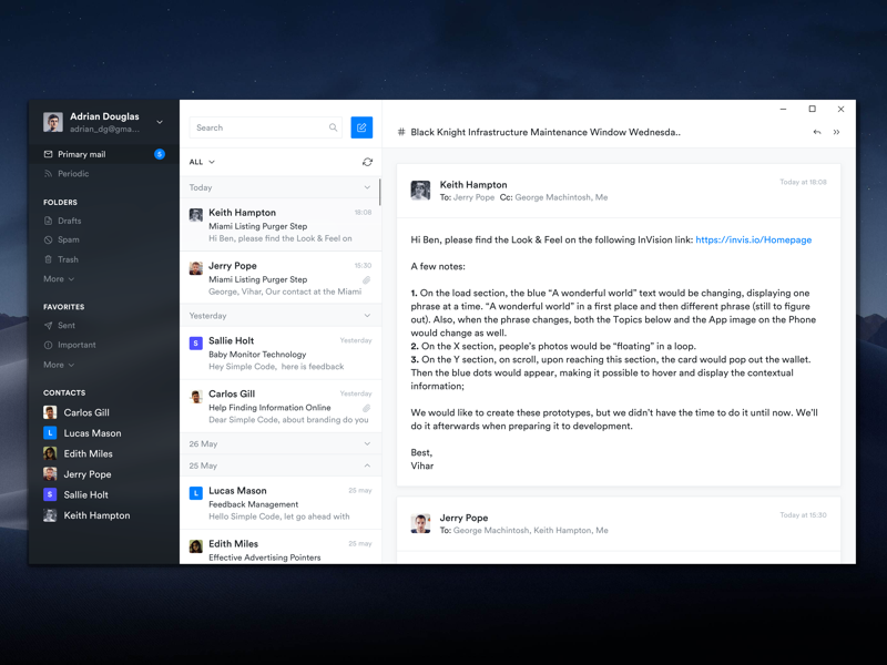 Email Client App windows sidebar chat desktop black email significa app circular ux ui