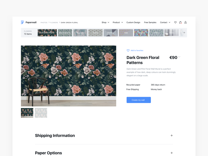 Wallpaper Store - Product View design store ui ux significa ecommerce wallpaper flower minimal sf desktop black