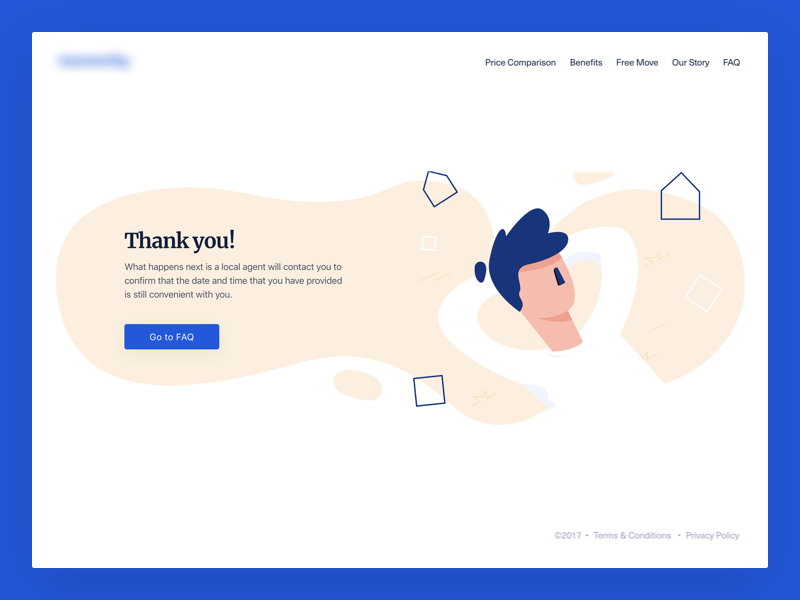 Real Estate - Thank You illustration user relax desktop blue hero significa thank you unica ux ui