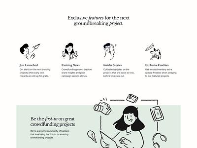Backer News - Hero inter ui libre baskerville landing page hero green crowdfunding newsletter typography significa interface illustration desktop ui